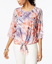 JM Collection Studded Tie-Hem Top, Created for Macy's