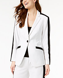 I.N.C. Petite Striped-Sleeve Varsity Blazer, Created for Macy's
