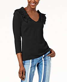 I.N.C. Ruffled V-Neck Sweater, Created for Macy's