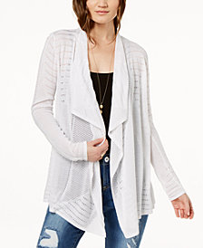 I.N.C. Petite Pointelle-Knit Cardigan, Created for Macy's