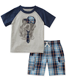 Kids Headquarters 2-Pc. Graphic-Print T-Shirt & Plaid-Print Shorts Set, Baby Boys