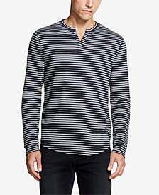 DKNY Men's Striped Waffle-Knit Henley, Created for Macy's