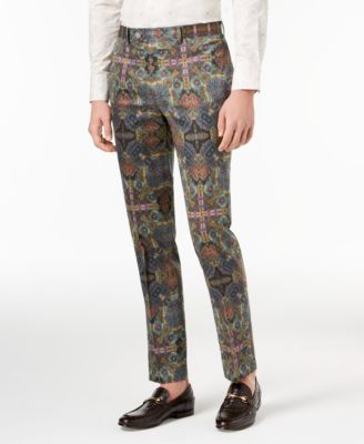 Orange Men's Slim-Fit Olive Printed Suit Pants