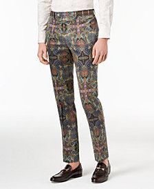 Tallia Orange Men's Slim-Fit Olive Printed Suit Pants