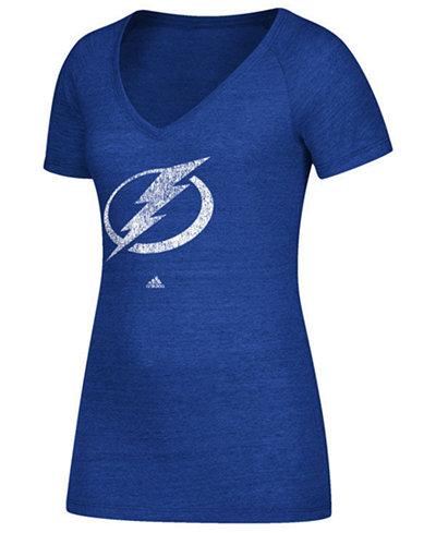 adidas Women's Tampa Bay Lightning Distressed Logo T-Shirt