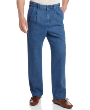 Haggar Denim Work to Weekend Big and Tall Pleated Pants