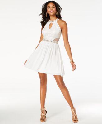 White Lace Halter Dress