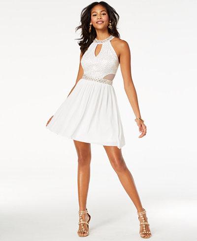 B Darlin Juniors' Sequined Lace Halter Dress
