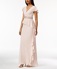 Adrianna Papell Embellished Draped Ruffle Gown