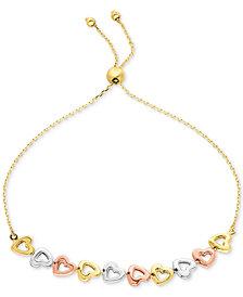 Tri-Color Heart Bolo Bracelet in 10k Gold, White Gold & Rose Gold