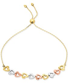 Tri-Color Heart Bolo Bracelet in 10k Gold, White Gold & Rose Gold