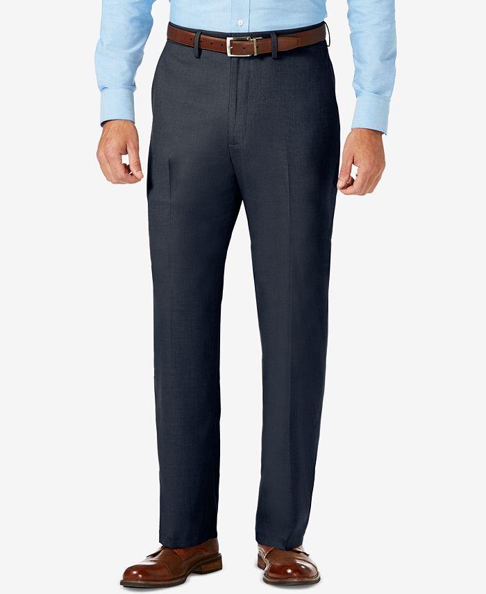 Haggar - Men's Sharkskin Classic-Fit Flat Front Premium Flex Waistband Dress Pants