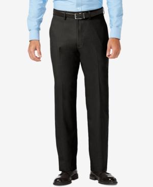 Sharkskin Classic-Fit Flat Front Premium Flex Waistband Dress Pants
