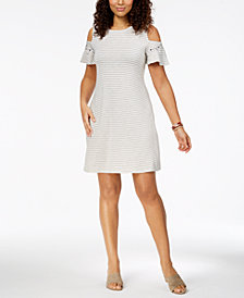 Style & Co Petite Cold-Shoulder A-Line Dress, Created for Macy's