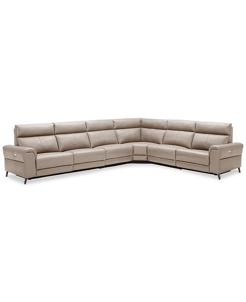 Midori 6 Pc Leather Power Reclining Sectional Sofa: Furniture Raymere 6-Pc. Leather Sectional Sofa With 3