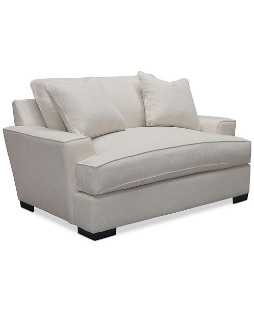 "Furniture Ainsley Fabric Sectional Collection Created For: Furniture Ainsley 65"" Fabric Oversized Chair With 2 Throw"
