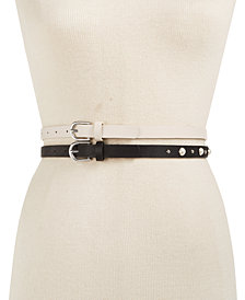I.N.C. 2-for-1 Imitation Pearl & Smooth Belts, Created for Macy's