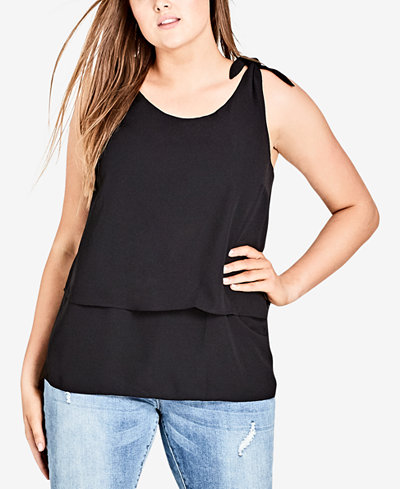 City Chic Trendy Plus Size Tiered Tie-Strap Top