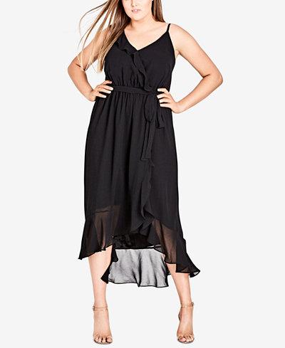 City Chic Trendy Plus Size Ruffled Maxi Dress