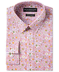 Nick Graham Men's Slim-Fit Stretch Easy-Care Floral Print Dress Shirt