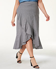 Soprano Trendy Plus Size Ruffled High-Low Gingham Skirt