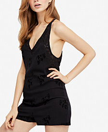 Free People Troubador Embroidered Lace-Trim Romper
