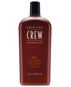 Image of American Crew 3-In-1 Shampoo, Conditioner & Body Wash, 33.8-oz, from Purebeauty Salon & Spa