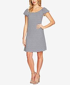 CeCe Striped Bubble-Sleeve Dress
