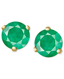 14k Gold Earrings, Emerald Stud (3/4 ct. t.w.)
