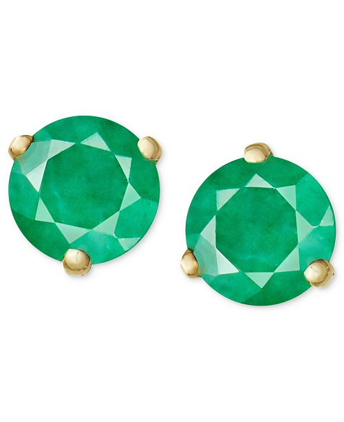 Macy's 14k Gold Earrings, Emerald Stud (3/4 ct. t.w.)