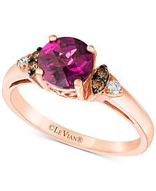 Le Vian Chocolatier® Raspberry Rhodolite®­­ (1-1/3 ct. t.w.) & Diamond (1/10 ct. t.w.) Ring in 14k Rose Gold