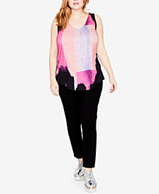 RACHEL Rachel Roy Trendy Plus Size Printed Tie-Back Tank Top