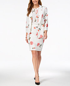 Nine West Printed Blazer, Sleeveless Blouse & Pencil Skirt