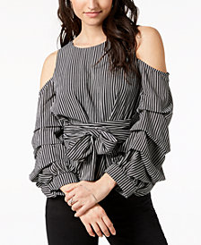 J.O.A. Cold-Shoulder Tiered-Sleeve Top