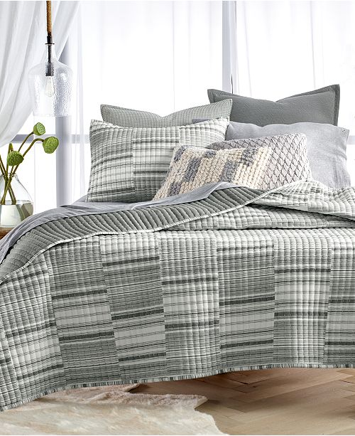 Lucky Brand CLOSEOUT! Broken Stripe Twin Quilt, Created for Macy's