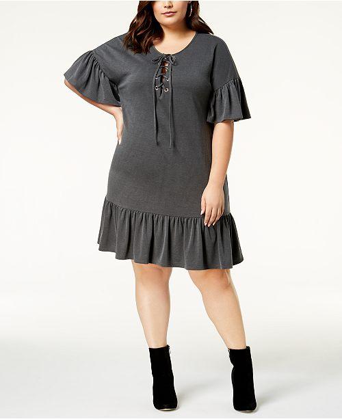 Soprano Trendy Plus Size Lace-Up Shift Dress - Dresses ...