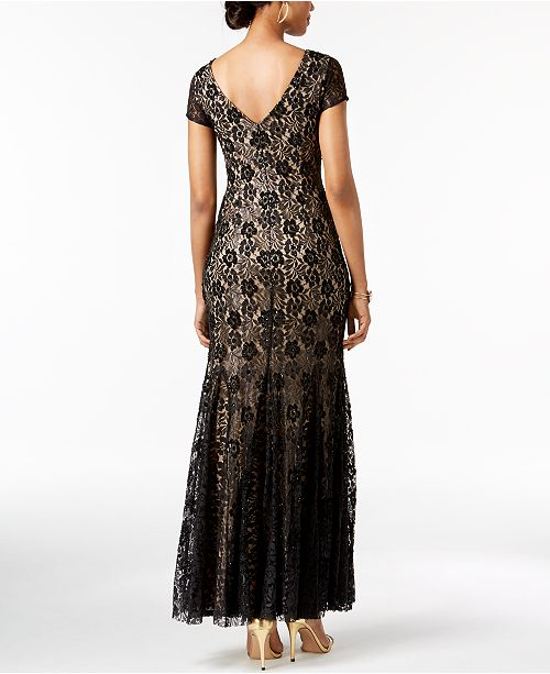 Nude Black Adrianna Papell V Gown Lace Back qPwZxwRY