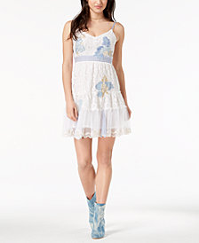 GUESS Yvonne Embroidered Lace Fit & Flare Dress