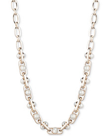 "DKNY Gold-Tone Link & Imitation Pearl Collar Necklace, 16"" + 3"" extender, Created for Macy's"