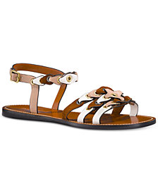 COACH Leather Link Flat Sandals