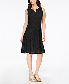 JM Collection Petite Lace A-Line Dress