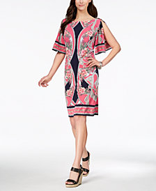 JM Collection Flutter-Sleeve Shift Dress, Created for Macy's