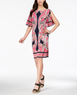 Jm Collection Flutter-Sleeve Shift Dress, Created for Macy's 5753756