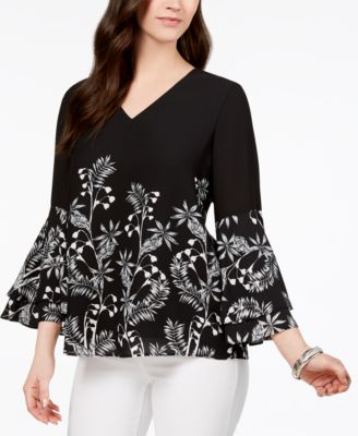 Printed V-Neck Poet-Sleeve Top, Created for Macy's