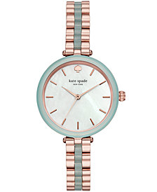 kate spade new york Women's Holland Rose Gold-Tone & Green Stainless Steel Bracelet Watch 34mm