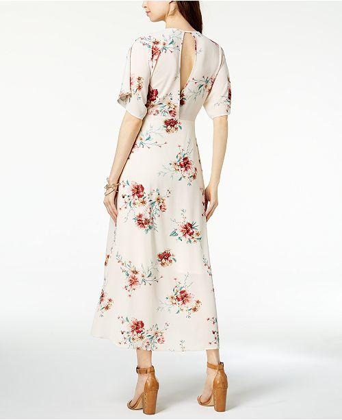 Monteau Petite Printed Faux Wrap Maxi Dress Created For Macys