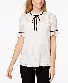 Monteau Petite Tie-Neck Lace Top, Created for Macy's