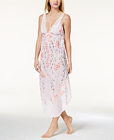 Linea Donatella Deandra Lace-Trim Floral-Print Nightgown