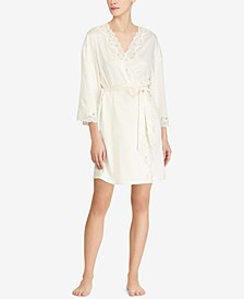 Lauren Ralph Satin Lauren Lace-Trim Wrap Robe