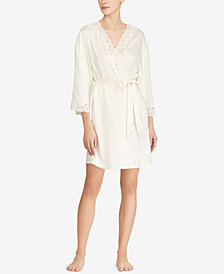 Lauren Ralph Satin Lauren Lace-Trim Wrap Rope